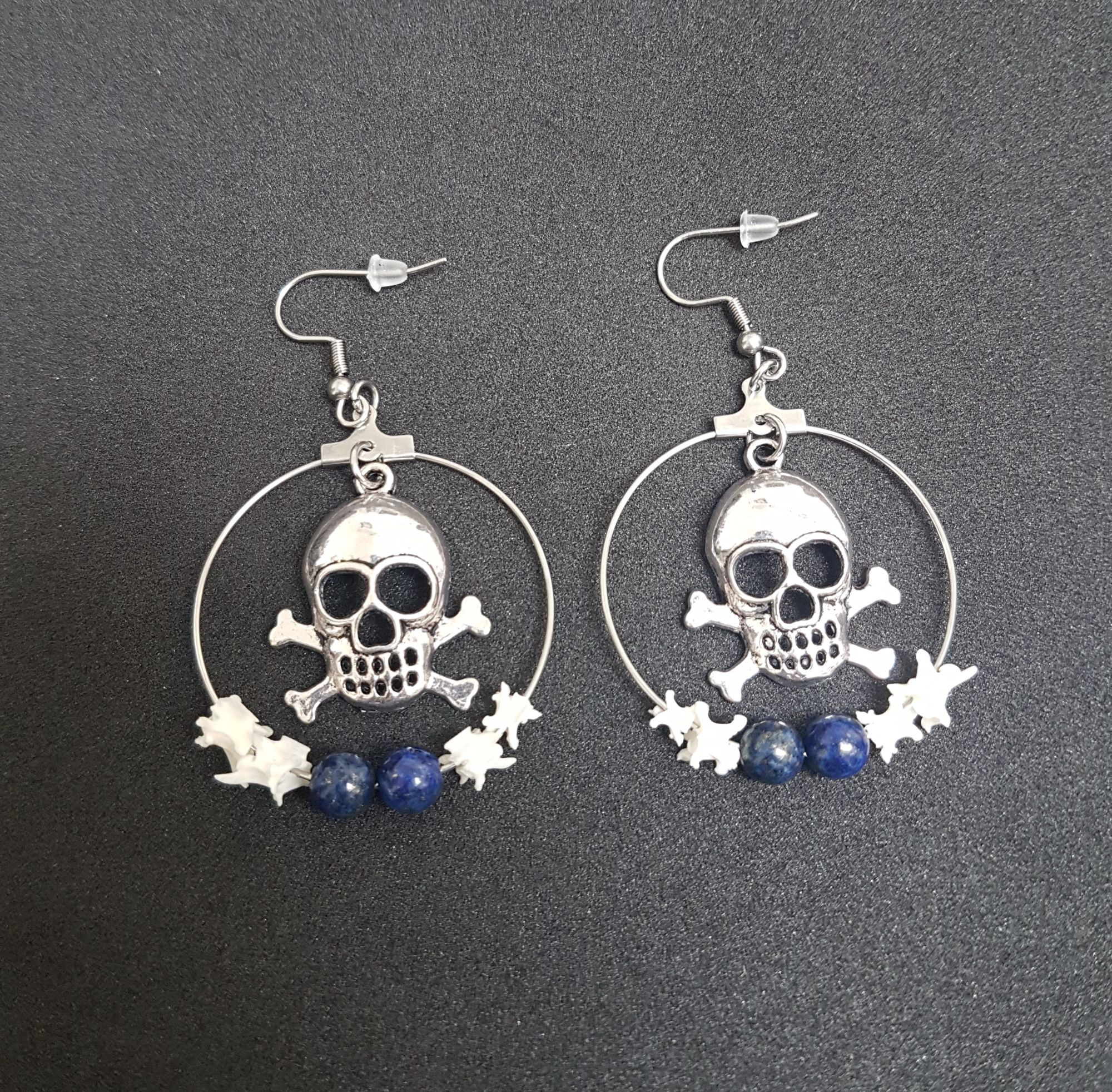 Punk Skull Snake Vertebrae Hoop Earrings