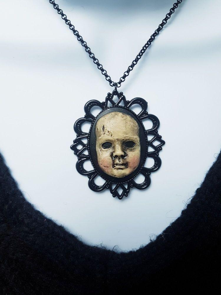 Creepy Doll Head Gothic Pendant Necklace