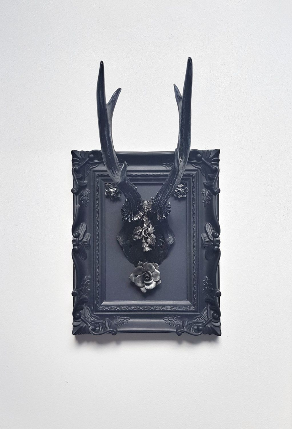 Gothic Roe Deer Skull With Large Antlers In Frame