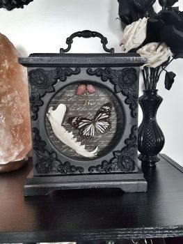 Danaus Melanippus White Tiger Butterfly - Vintage Clock Victorian Gothic Display