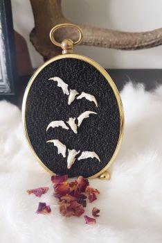 Bats - Vintage Frame With Owl Pellet Bones