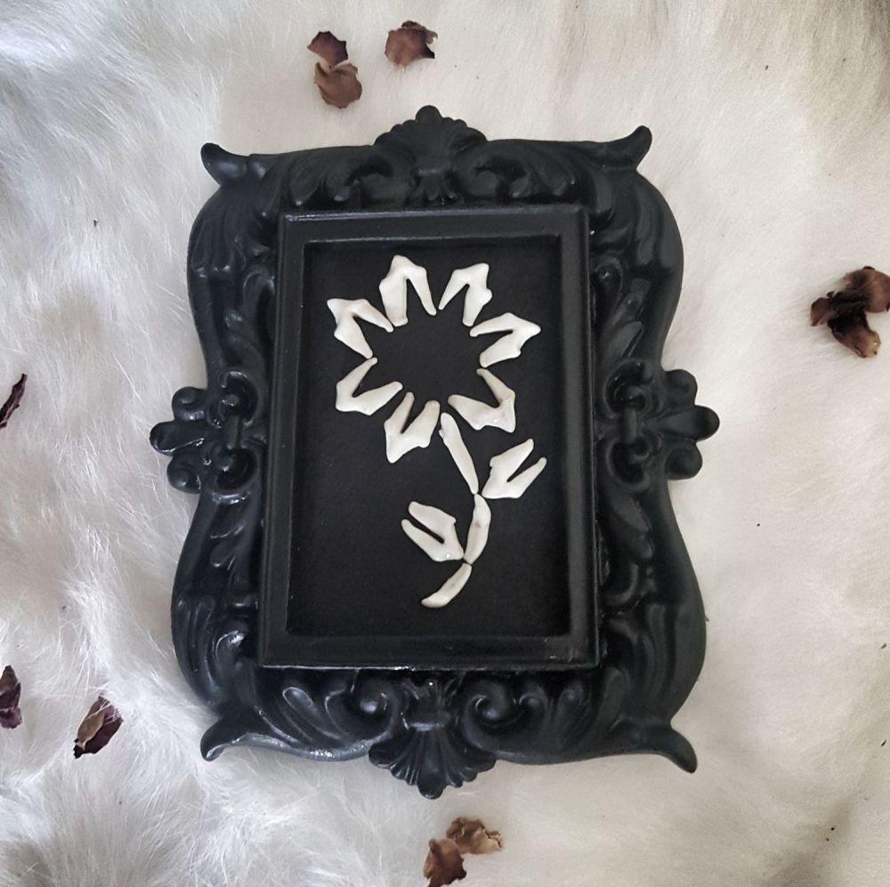 Fox Teeth Flower In Gothic Style Frame