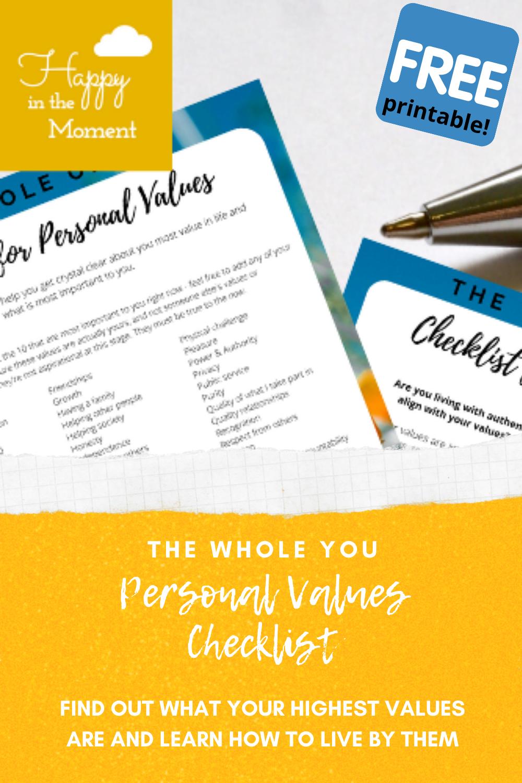 Personal values checklist pin