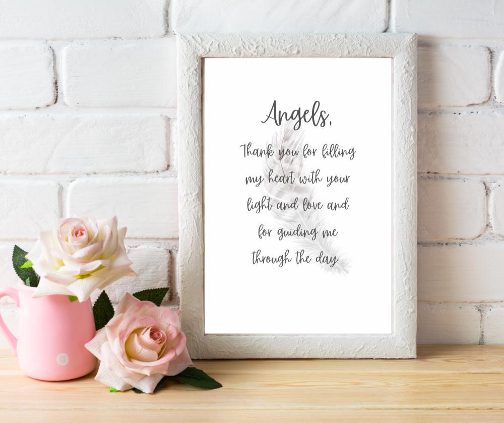 Angels Prayer | Typographic Print | A4 Printable (Angels)