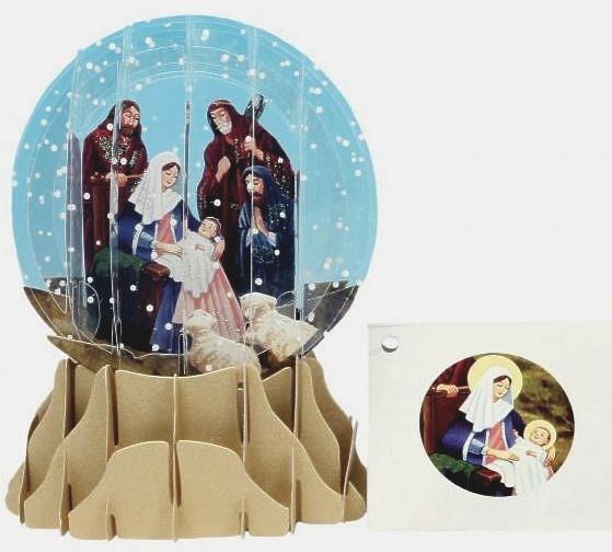 Nativity Pop Up 3D Snowglobe Card