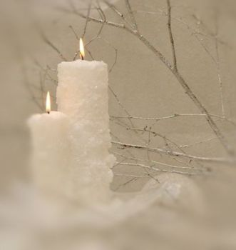 Large Frosted Pillar Candle