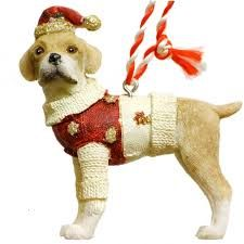 Gisela Graham adorable Santa Paws Dog decorations with their festive Hat or Coat.