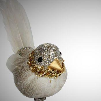 Gisela Graham Pewter Glitter Beige Feather Birds on Clips