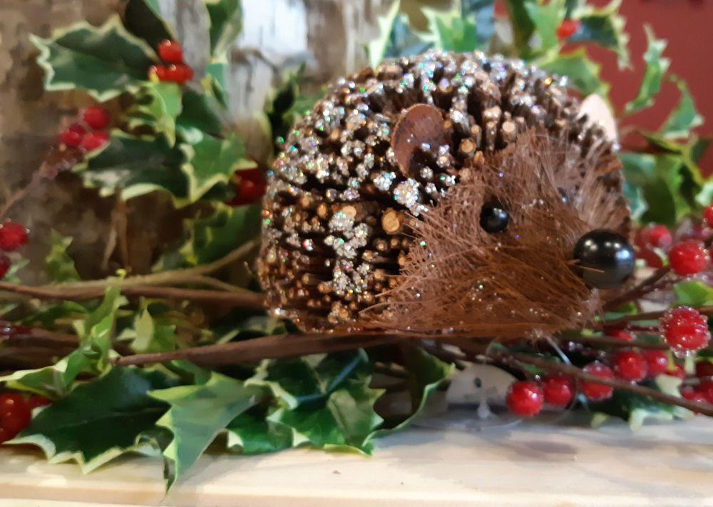 Gisela Graham Glitter Twig Hedgehog Large