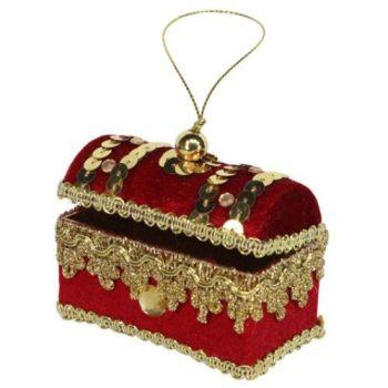 Gisela Graham Red Velvet Jewelled Treasure Chest