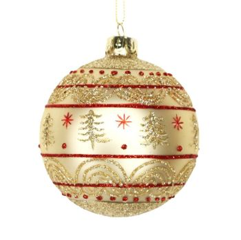 Gisela Graham Red & Gold Band Bauble