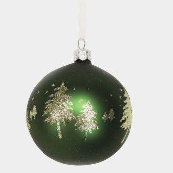 Gisela Graham Matt Forest Green Glass Bauble