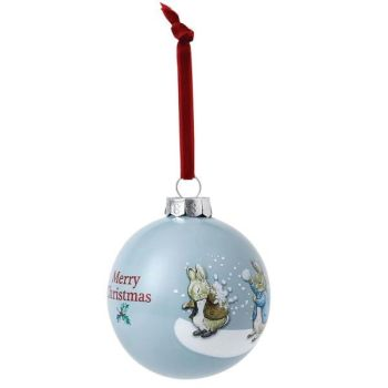 Peter and Benjamins snowball fight bauble - 8cm diameter.