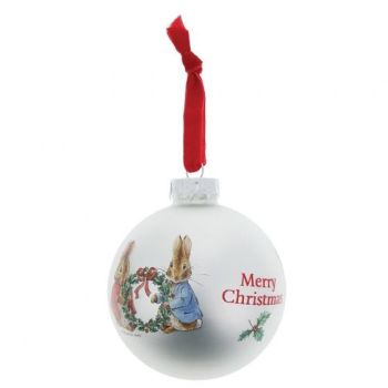 Peter Rabbit and Flopsy Holding Holly Wreath Glass Bauble - 8cm diameter.
