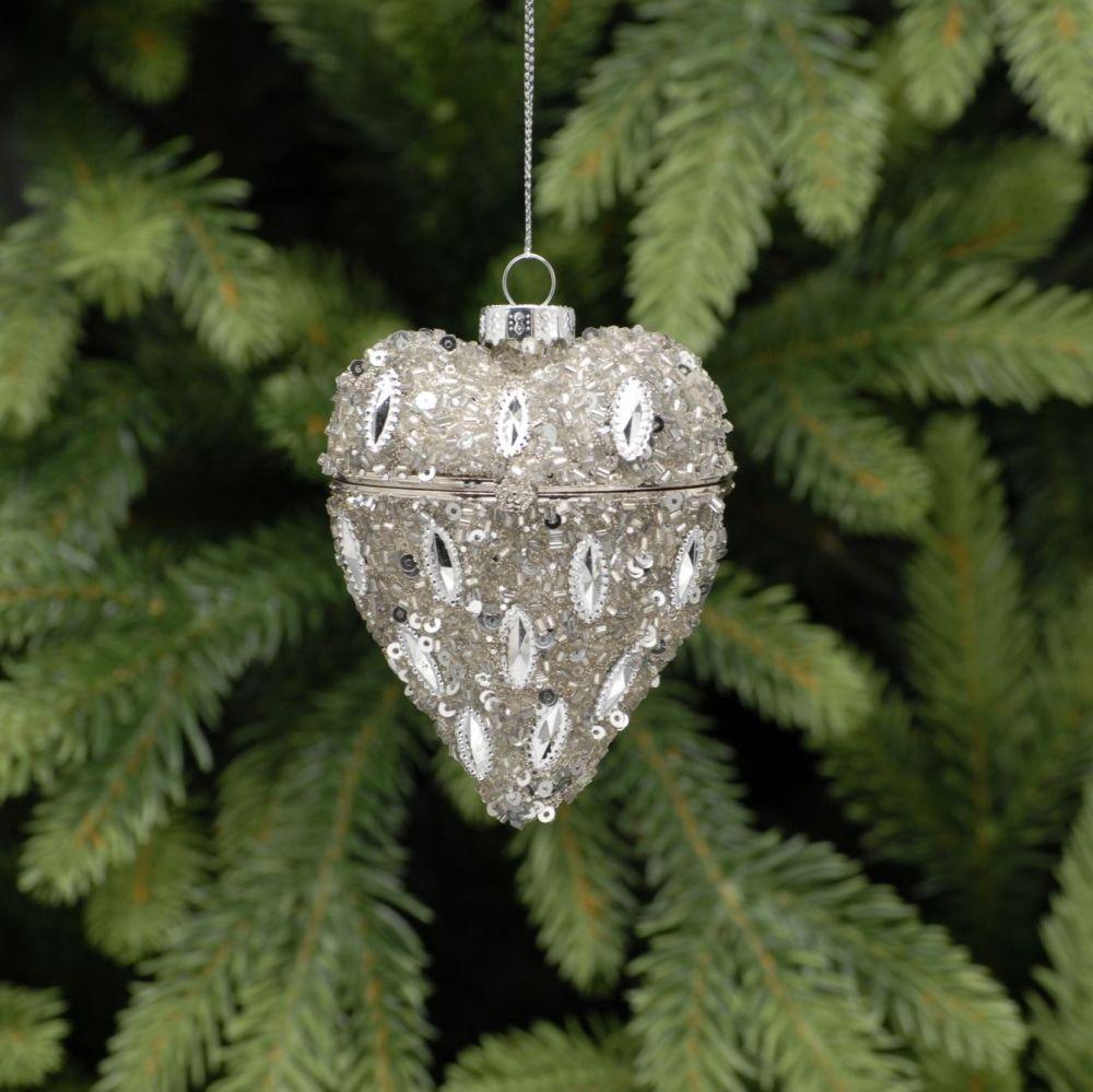 Heart shaped glass trinket boxes 8cm