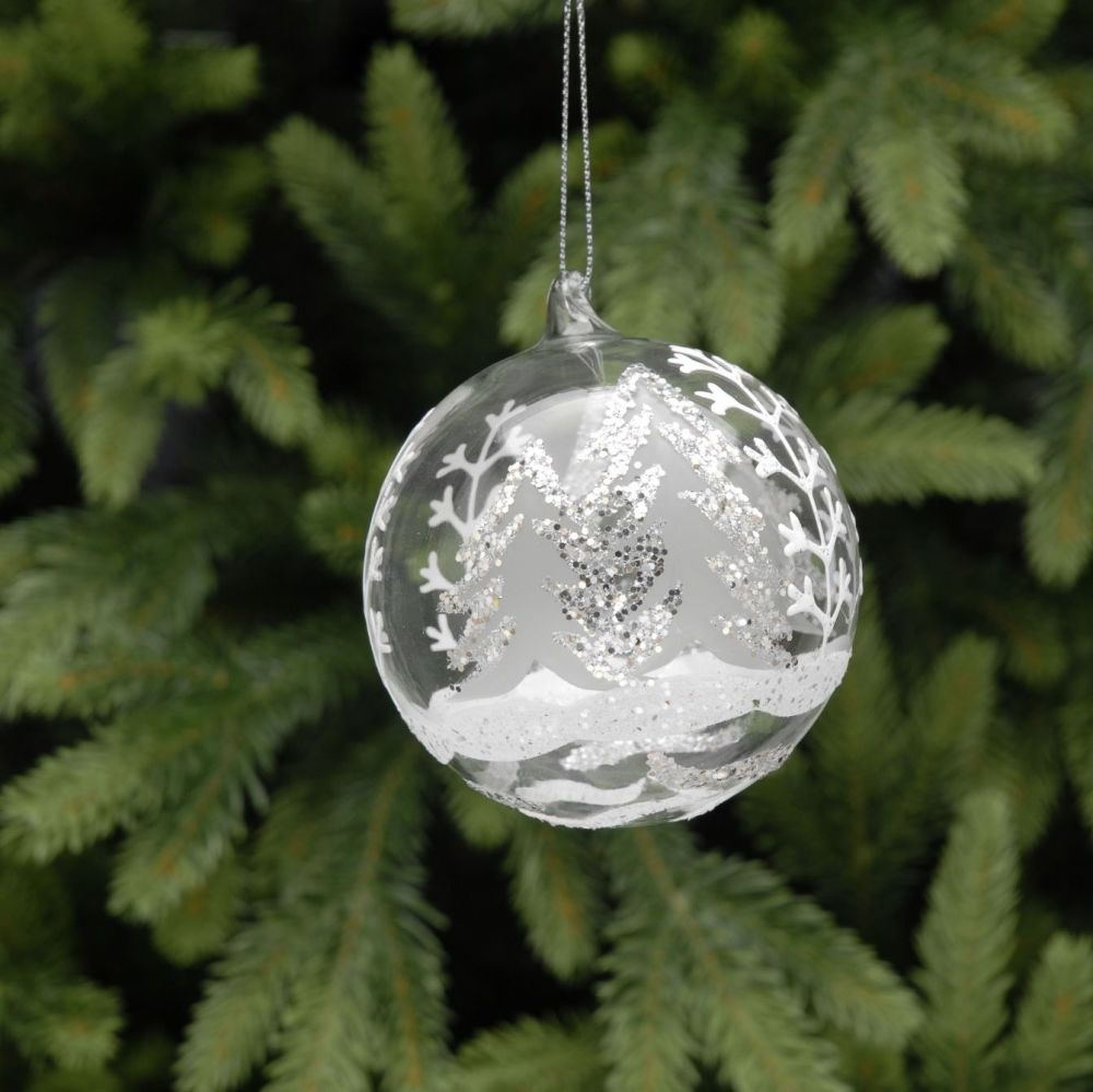 Glass tree scene bauble with frosted white and silver glitter finish.  9cm