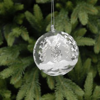 Glass tree scene bauble.