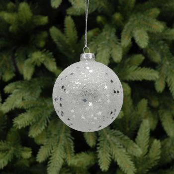 Glass frosted snowflake bauble.