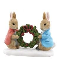 Peter Rabbit and Flopsy Holding Holly Wreath