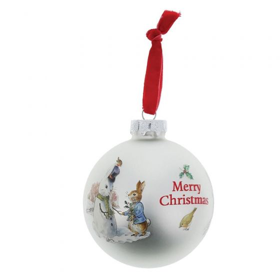 Peter Rabbit and Snow Rabbit Glass Bauble