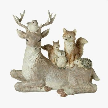 Large Sitting Deer With Woodland Friends