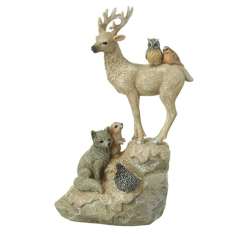 Small Standing Deer With Woodland Friends
