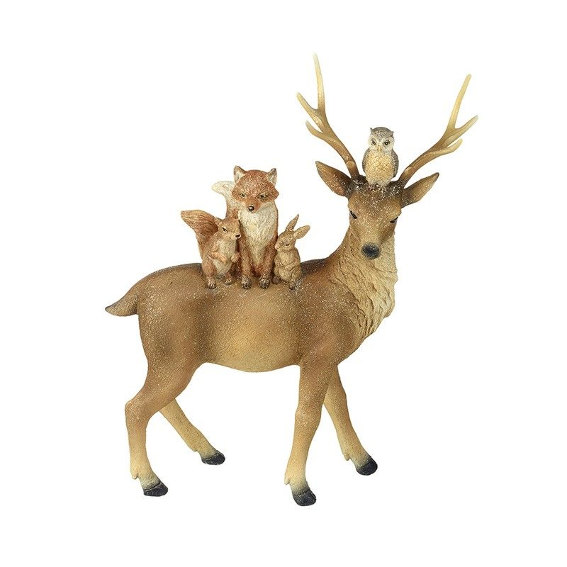 Medium Standing Deer With Woodland Friends