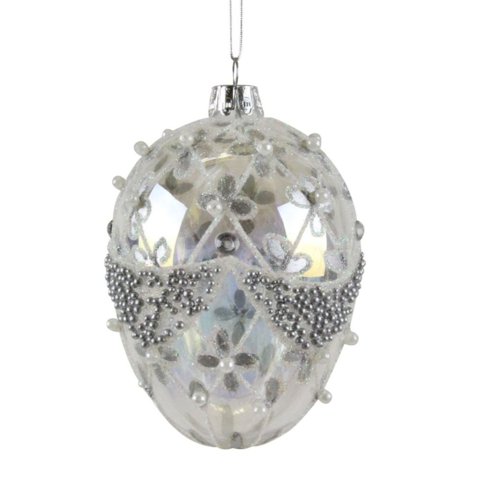 Glass Clear Iridescent Egg with Silver Swag