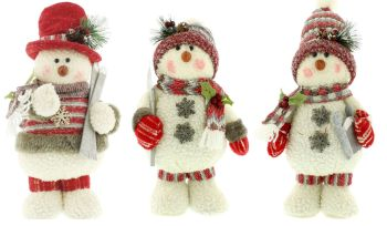 Standing Snowmen Red and White Soft Christmas Decoration