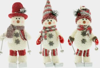 Skiing Snowmen Red and White Soft Christmas Decoration