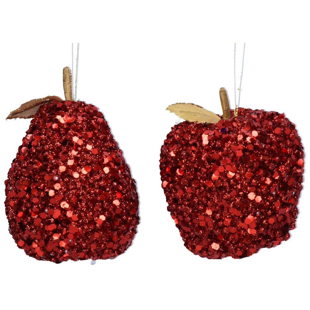 Christmas Red Bead/Sequin Apple/Pear Dec,