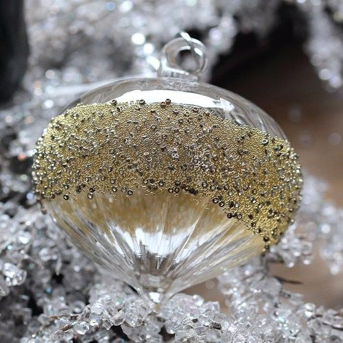 Clear Glass Sultan Bauble Grooved & Silver Beaded - 11cm