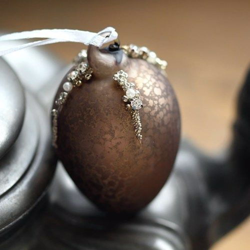 Matte Antique Chocolate Glass Egg Bauble with Beads & Diamantes - 6cm