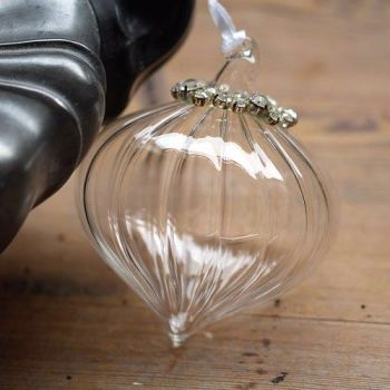 Clear Glass Sultan Bauble Grooved & Silver Beaded - 8cm
