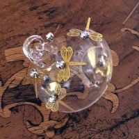Clear Glass Sultan Bauble with Gold Dragonfly & Diamante - 6cm