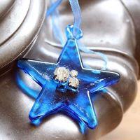 Blue Glass Star Bauble Beaded  & Diamantes - 5cm
