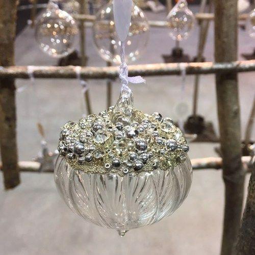Clear Glass Sultan Grooved Bauble Silver Beads & Diamantes - 6cm
