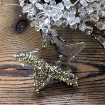 Clear Glass Star Bauble with Crushed Silver Beads - 4cm
