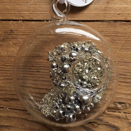 Clear Glass Sphere Bauble revealing Diamante & Silver Beaded Treasures - 6c