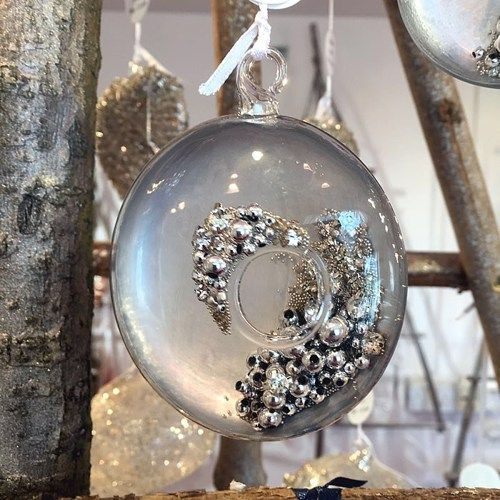Clear & Silver backed Glass Sphere Bauble revealing Diamante & Silver Beade