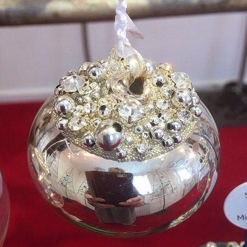 Silver Glass Sultan Beaded & Diamante Bauble  - 6cm