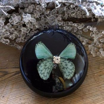 Blue Glass Sphere Bauble with Butterfly & Diamante - 4cm