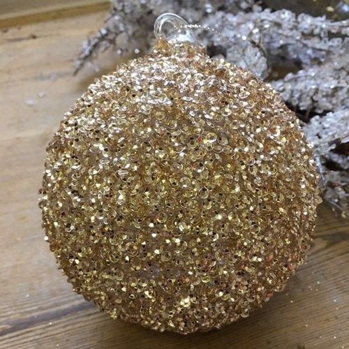 Champagne Gold Glass Sequined Round Bauble - 8cm