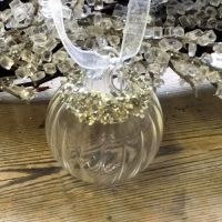 Clear Glass Round Bauble Grooved & Silver Crushed Beaded - 4cm