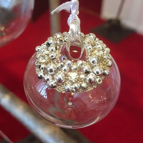 Clear Glass Sultan Bauble Silver Beaded & Diamantes - 8cm