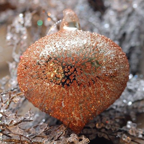 Clear Glass Copper Sultan Stippled Bauble - 8cm
