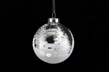 Clear Glass Bauble with White Woodland Scene & Deer - 8cm