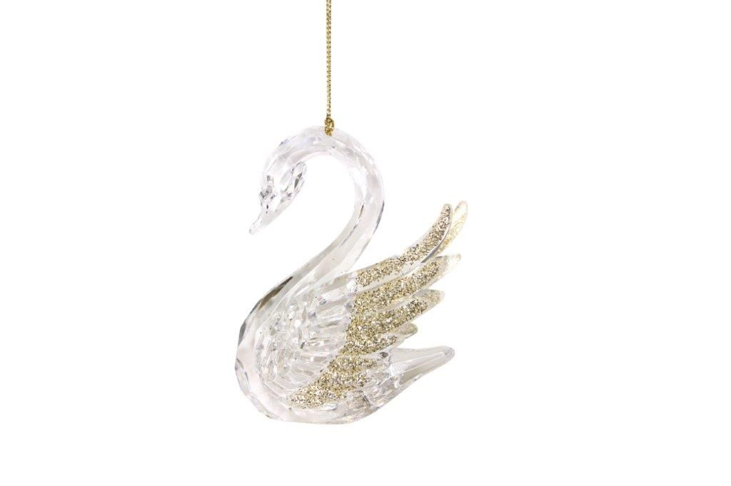 Clear Acrylic Swan Bauble with Gold Tipped Wings - 10cm x 8cm x 5cm