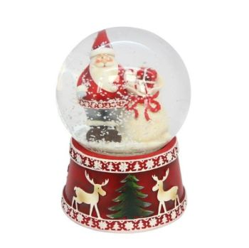 Nordic Santa Snowglobe with wind up We Wish You A Merry Musicbox  - 14cm x 9cm x 9cm
