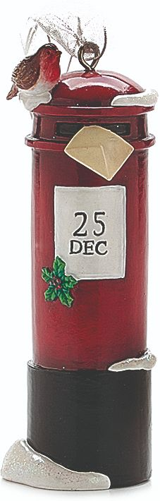 Gorgeous Robin Red Breast Bauble sitting on a Red Post Box with 25th Decemb